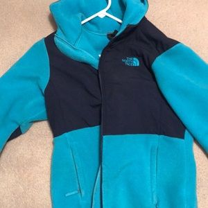 Turquoise and navy north face jacket